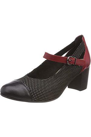Remonte D0803, Zapatos con Tacon y Correa de Tobillo para Mujer, (Schwarz/Schwarz/Weiss/Fire 01)