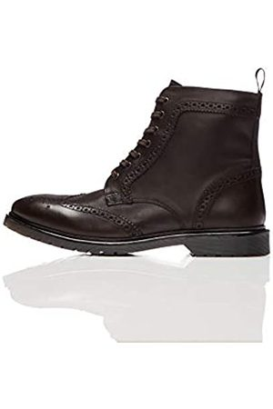 FIND Leather Cleated Brogue Botas Estilo Motero, Brown