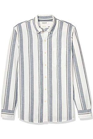 Goodthreads Marca Amazon – – Camisa de manga larga de corte entallado de cambray y raya diplomática para hombre, White Navy Vertical Stripe