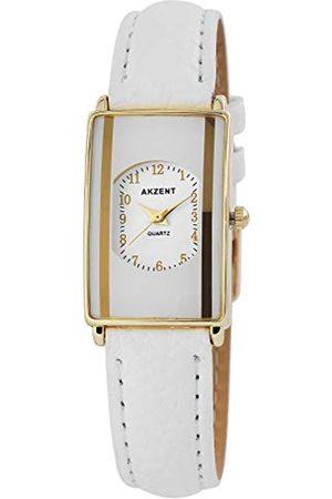 Akzent SS7302000016 - Reloj analógico de mujer de cuarzo con correa de piel blanca - sumergible a 30 metros