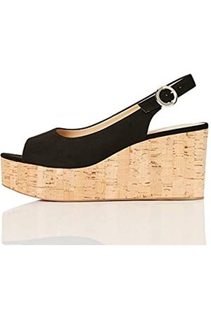 FIND FIND Cork Peep Toe Sling Back Wedge Zapatos de tacón con Punta Abierta, (Black)
