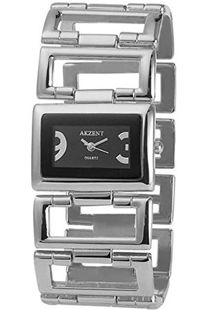 Akzent SS8221000005 - Reloj analógico de mujer de cuarzo con correa de aleación plateada - sumergible a 30 metros
