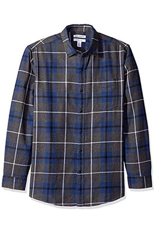 Amazon Camisa de franela a cuadros, manga larga, ajustada, para hombre