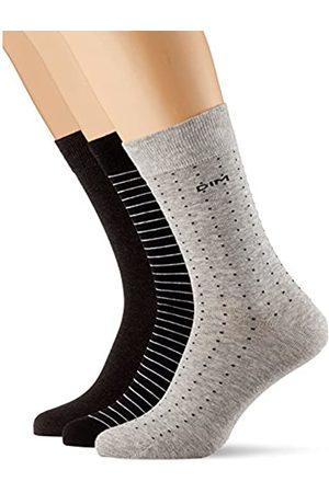 Dim Mi-chaussette coton rayures et pois x3 Calcetines, (Lot noir/anthracite/ clair 5PY)