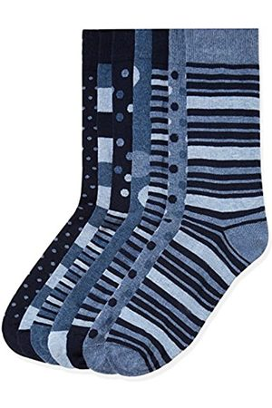 FIND Calcetines de Rayas para Hombre, Pack de 7, (Blue Mix)