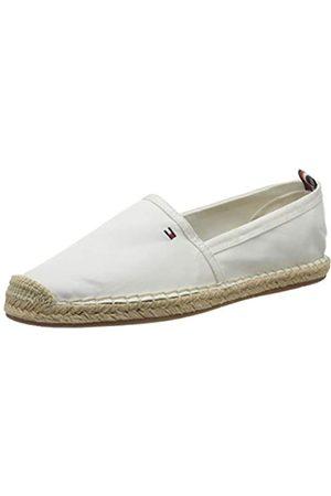 Tommy Hilfiger Basic Tommy Flat Espadrille, Zapatos de tacón con Punta Abierta para Mujer, (Ivory Ybi)