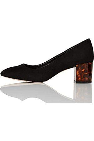 FIND FIND Block Heel Round Toe Zapatos de Tacón, (Black)