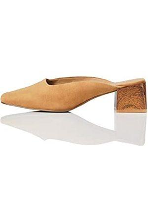 FIND Marca Amazon - Close Toe Mule Zapatos de tacón con Punta Cerrada, (Caramel)