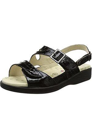 Padders Sunray Sandalias de Punta Descubierta Mujer, (Black Patent Croc 60)