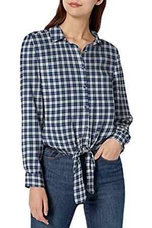 Goodthreads Modal Twill Tie-Front Shirt dress-shirts, Blue/Off-white Plaid