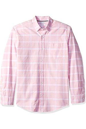 Amazon Camisa Oxford a cuadros de manga larga con bolsillo para hombre