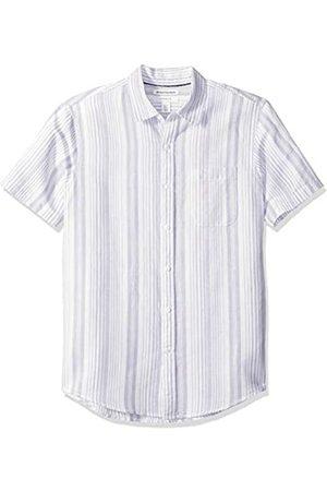 Amazon Camisa de lino a rayas, de manga corta y corte entallado para hombre, Lavendar Stripe