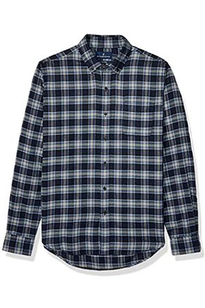 Buttoned Down Slim Fit Supima Cotton Plaid Flannel Sport Shirt Button-Down-Shirts, Marino, tartán (Navy/Tan)