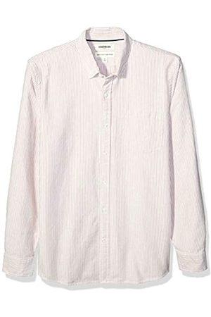 Goodthreads Standard-Fit Long-Sleeve Striped Oxford Shirt Button-Down-Shirts, Rust Bengal Stripe