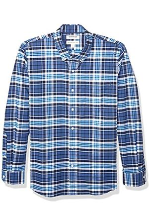 Goodthreads Standard-Fit Long-Sleeve Stretch Oxford Shirt (All Hours) Button-Down-Shirts, Denim Blue Multi Plaid