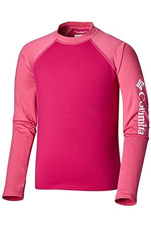 Columbia Niños Camiseta protectora de manga, Sandy Shores Long Sleeve Sunguard, Poliéster, (Haute Pink/Wild Geranium), Talla XL