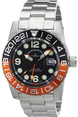 Zeno Quarz 6349Q-GMT-a1-5M - Reloj analógico de Cuarzo para Hombre, Correa de Acero Inoxidable Color (Agujas luminiscentes