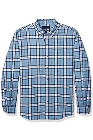 Buttoned Down Classic Fit Supima Cotton Brushed Twill Plaid Sport Shirt Button-Down-Shirts, Heather Blue
