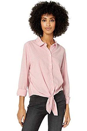 Goodthreads Lightweight Poplin Tie-Front Shirt Dress-Shirts, White/Coral Mini-Stripe