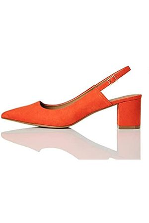 FIND FIND Block Heel Slingback Zapatos de Talón Abierto, (Burnt Orange)
