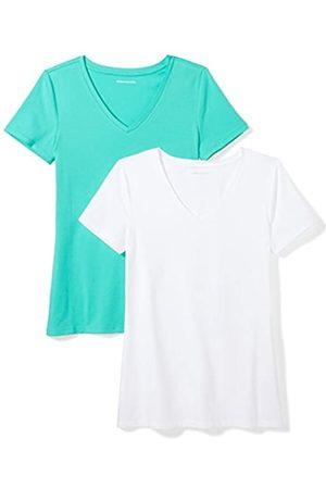 Amazon 2-Pack Short-Sleeve V-Neck Solid T-Shirt Camiseta, Mint Green/White