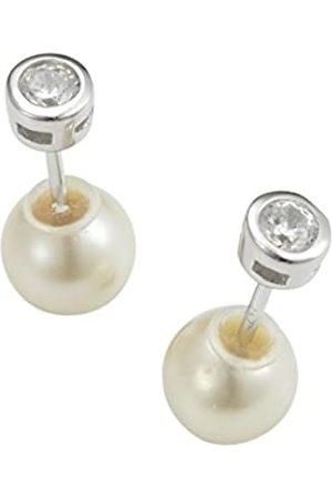 ADRIANA Damen-Pendientes de doble capa 2015 925 plata rodiada con circonitas en agua dulce-perla cultivada - ADO7