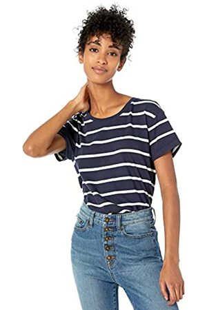 Goodthreads Washed Jersey Cotton Roll-Sleeve Open Crewneck T-Shirt Fashion-t-Shirts, Navy Stripe
