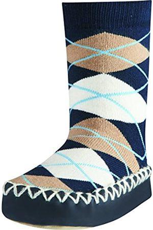 Playshoes Zapatillas con Suela Antideslizante Plaid Pantuflas, Opaco, no transparente, (Marine 11)