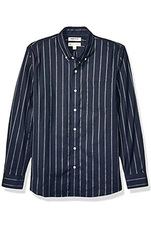 Goodthreads Standard-Fit Long-Sleeve Stretch Oxford Shirt (All Hours) button-down-shirts, Navy White Triple Stripe