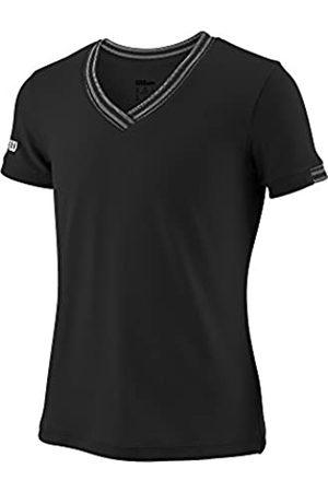 Wilson Camiseta deportiva con cuello en V para niña, G Team V-Neck, Poliéster, Talla: L