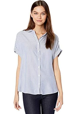 Goodthreads Modal Twill Short-Sleeve Button-Front Shirt Dress-Shirts, / (Blue/White Stripe)