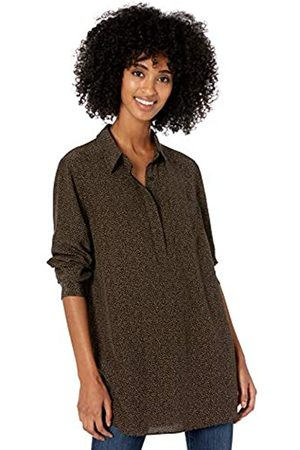 Goodthreads Viscose Popover Tunic fashion-t-shirts, Tan/Black Texture