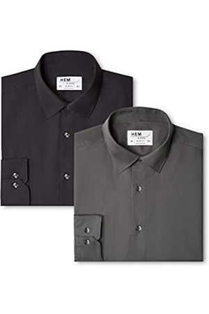 Hem /& Seam Slim Fit Contrast Collar Label: S Camisa de Oficina para Hombre Marca Mehrfarbig 38 cm Contrast Blue With White