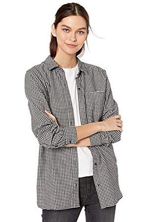 Goodthreads Heavyweight Flannel Long-Sleeve Button-Front Shirt Dress-Shirts, Black/White Gingham