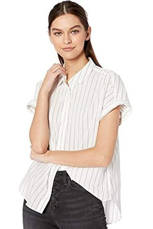 Goodthreads Lightweight Poplin Short-Sleeve Button-Front Shirt Dress-Shirts, White/Blue Open Stripe