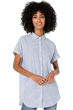 Goodthreads Washed Cotton Short-Sleeve Tunic Button-Down-Shirts, Blue Classic Stripe