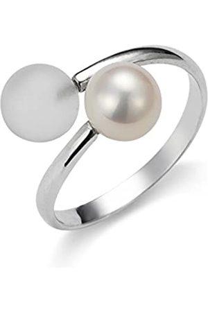 ADRIANA Damen-Anillo 925 de plata rodiada con cristal Gelato en agua dulce-perla cultivada Gr, 56 (17.8 Tamaño ajustable - AGR3 - GR