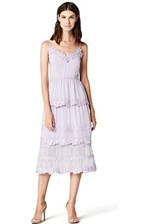 TRUTH & FABLE Marca Amazon - Vestido midi de gasa con bordado floral para mujer, 44