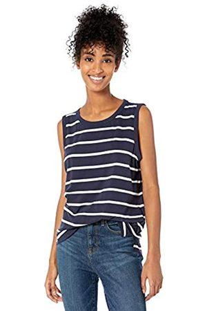 Goodthreads Washed Jersey Cotton Crewneck Muscle T-Shirt fashion-t-shirts, Navy Open Stripe
