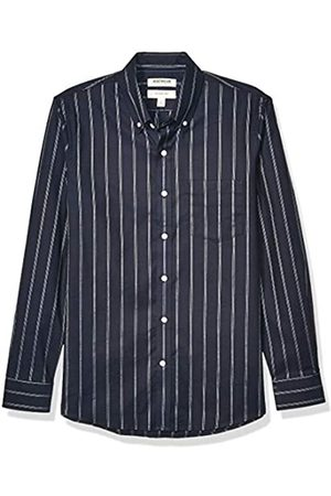 Goodthreads Slim-fit Long-Sleeve Stretch Oxford Shirt (All Hours) Camisa abotonada, Navy White Triple Stripe