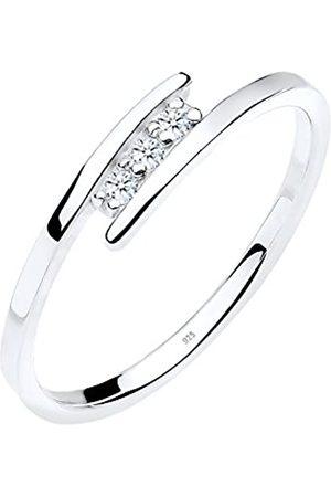 DIAMORE Anilo para Mujer de Plata de Ley con Diamantes de 0.06 ct Talla 14