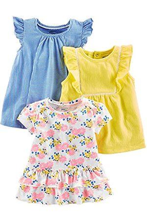 Simple Joys by Carter's Paquete de 3 camisetas y tops de manga corta para niñas ,Blue Stripe, Floral, Yellow