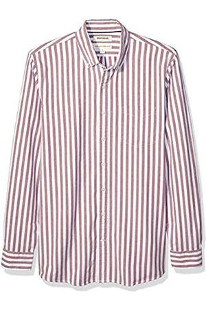 Goodthreads Standard-Fit Long-Sleeve Fashion Stripe Oxford Shirt Button-Down-Shirts, Red Wide