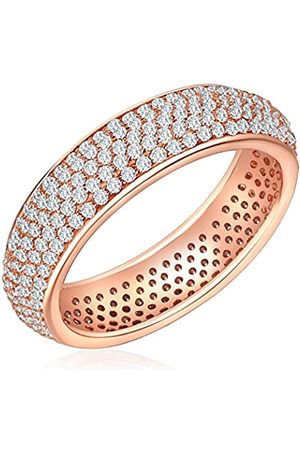 Nahla Jewels Anillo - 925 Plata esterlina (chapada en oro rosa), Anillo con Zirconia - complementos de mujer - En diferentes tamaños, Anillo de Plata esterlina