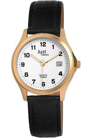 Just Watches Just Just - Reloj analógico de caballero de cuarzo con correa de piel negra - sumergible a 100 metros