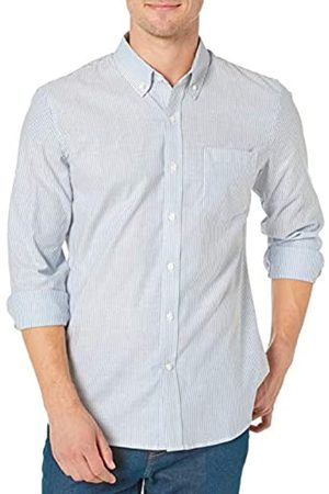 Goodthreads Standard-Fit Long-Sleeve Stretch Oxford Shirt (All Hours) Button-Down-Shirts, Denim Blue Bengal Stripe