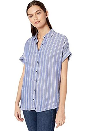 Goodthreads Modal Twill Short-Sleeve Button-Front Shirt Dress-Shirts, Blue/White Double Bar Stripe