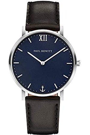 Paul Hewitt Reloj de muñeca para Hombre en Acero Inoxidable Sailor Blue Lagoon - Reloj de Hombre con Correa de Cuero Negro