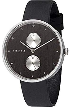 Kerbholz Reloj de Madera - Elements Collection Emil, cronógrafo analógico para Hombres, Esfera de Madera Natural, Correa de Cuero Genuino