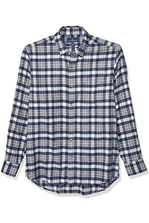 Buttoned Down Classic Fit Supima Cotton Plaid Flannel Sport Shirt Button-Down-Shirts, Navy/Grey